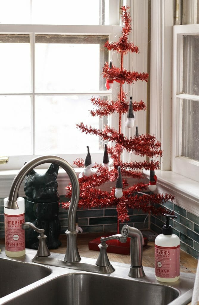 Red tinsel tree in kitchen