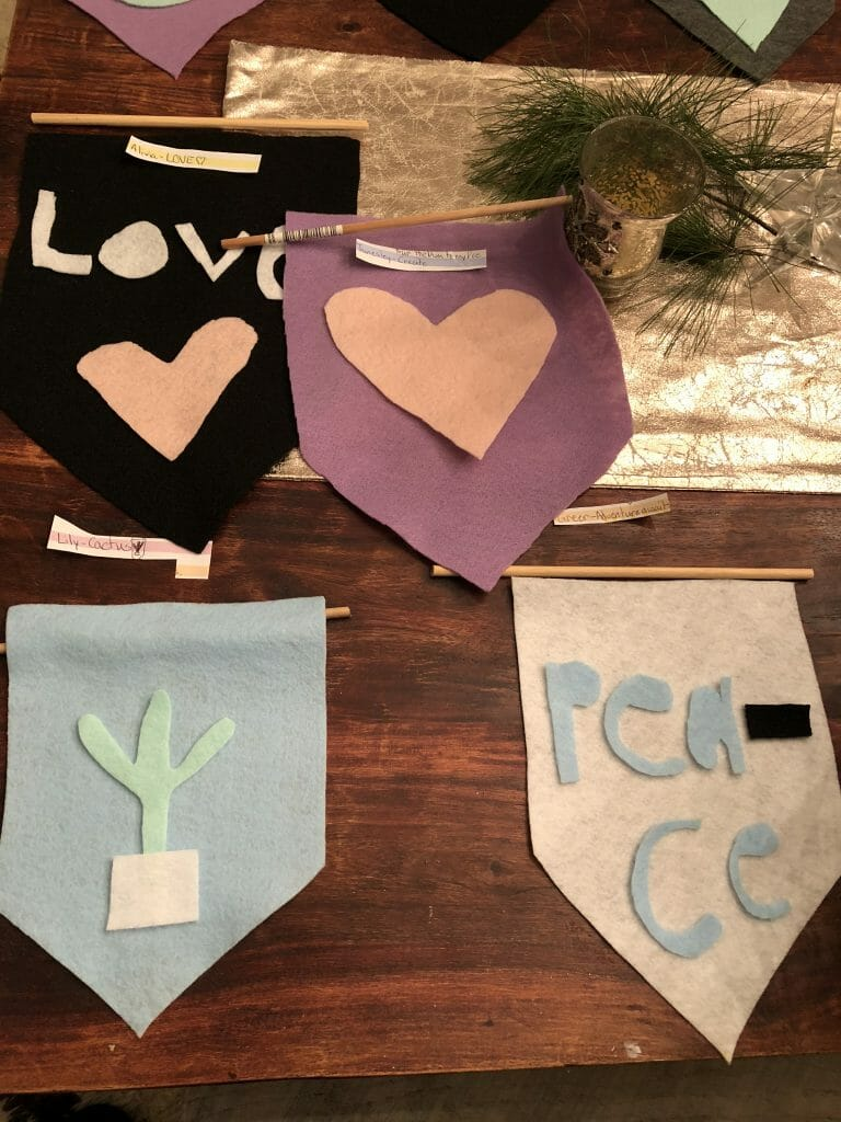 Designs laid out for felt flags