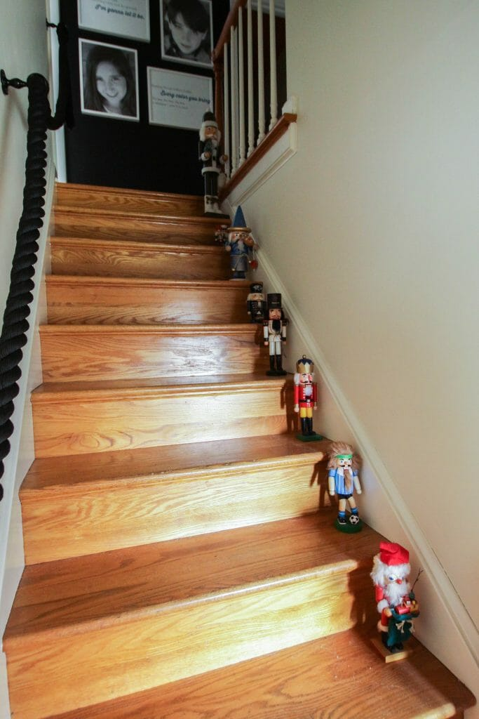 Nutcrackers up staircase