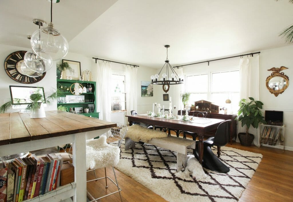 Eclectic Modern Vintage Dining Room at Christmas