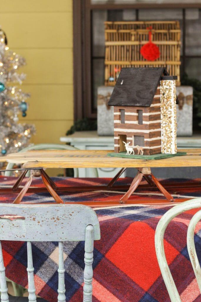 Miniature Log Cabin with vintage deer