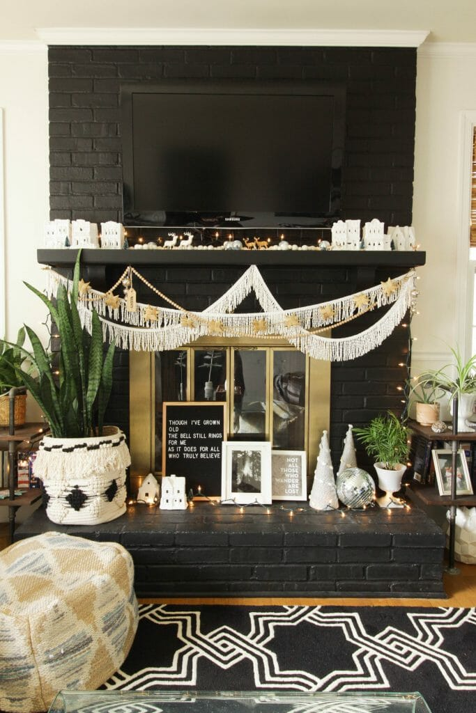 Black and White Christmas Village Mantle