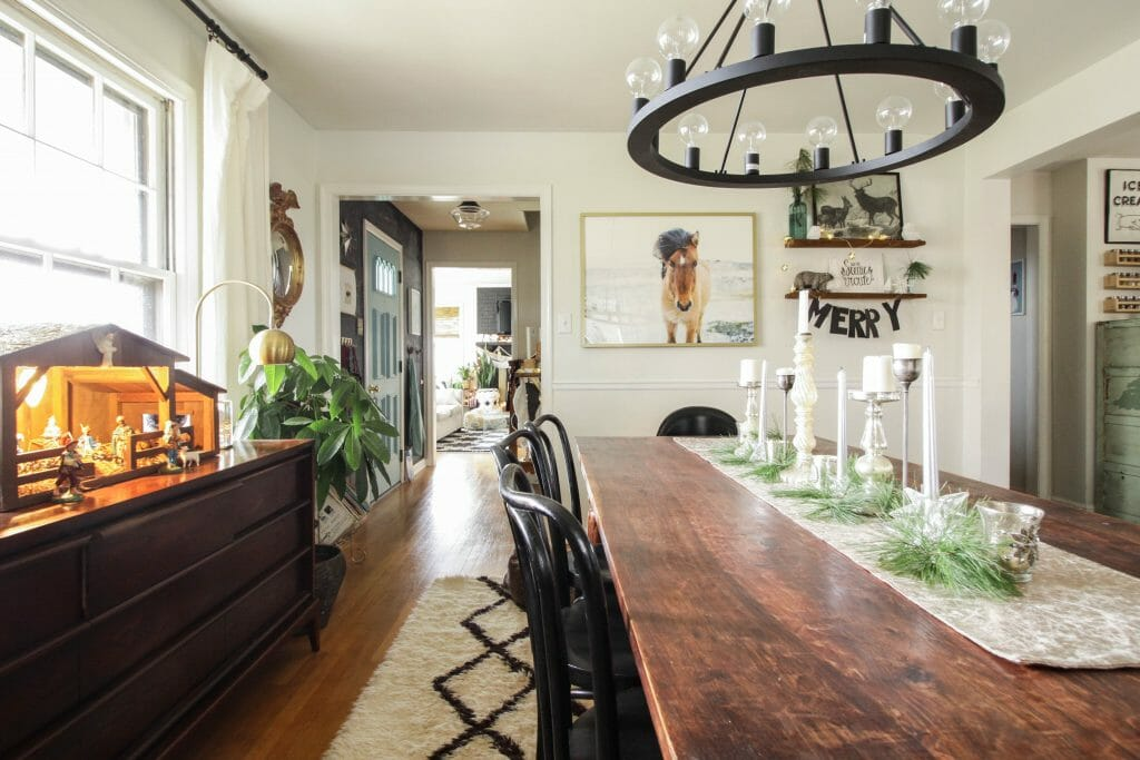 Modern Boho Farmhouse Christmas Dining Room