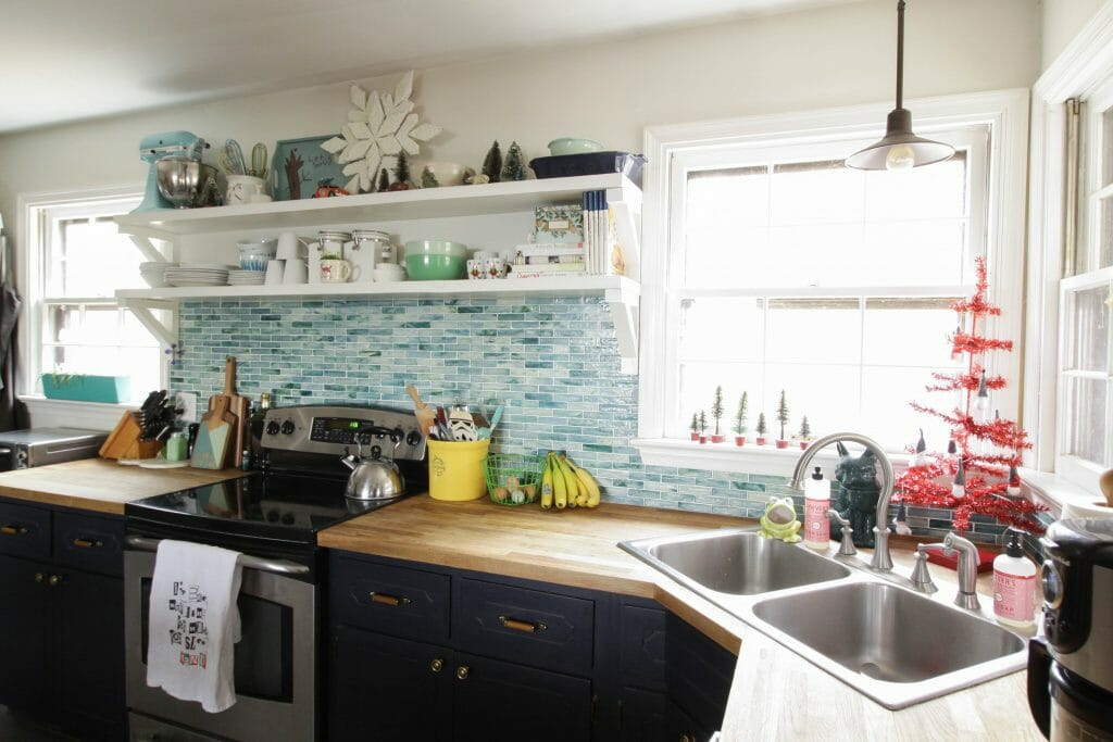 Eclectic Blue and White Farmhouse Kitchen at Christmas