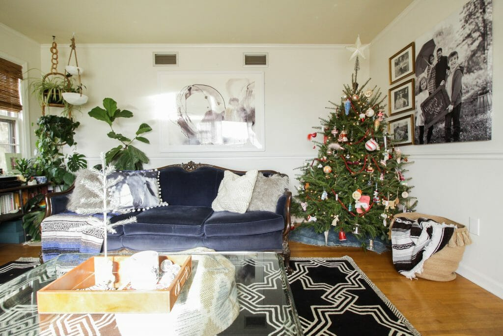 Eclectic Christmas Living Room-Boho Jungalow Style