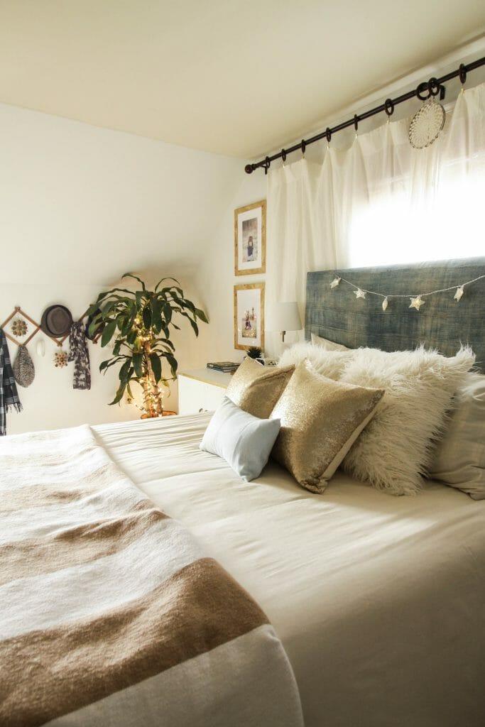 Modern Boho Blue and White Christmas bedroom