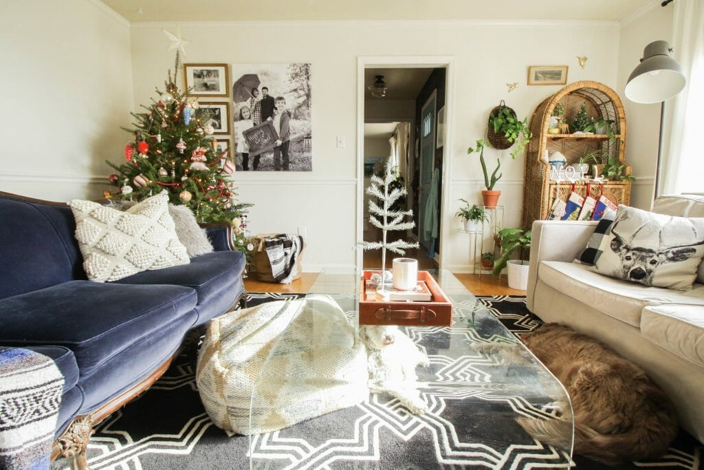 Eclectic and Cheerful Christmas living Room full of special pieces