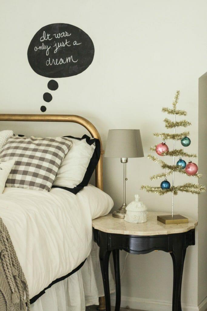 tinsel tree on nightstand