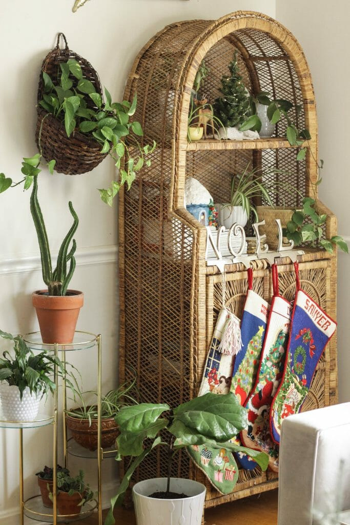 Hanging stockings from a hutch