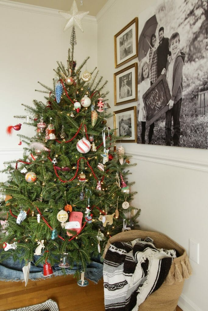 Vintage inspired traditional christmas tree
