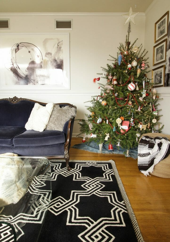 Eclectic vintage style Christmas tree