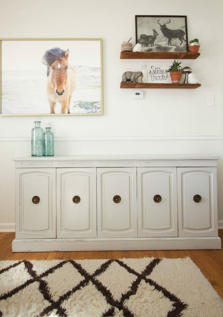 Seagull Gray Neoclassical Sideboard Makeover