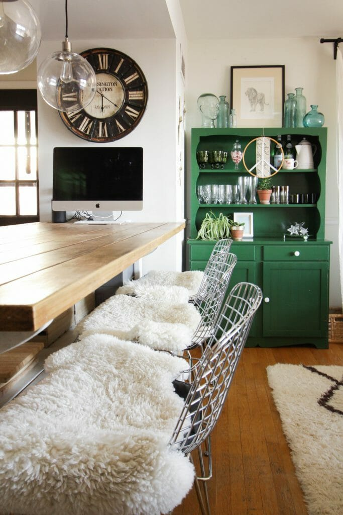 Industrial Modern Kitchen island and Green Vintage Hutch- Eclectic kitchen style