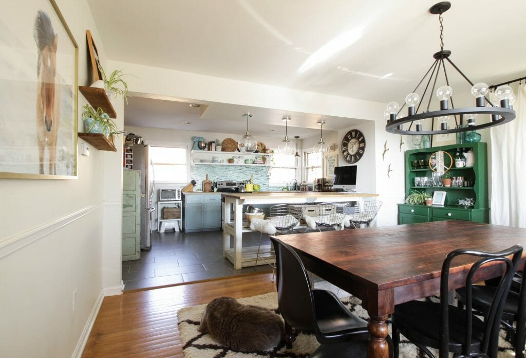 Kitchen and Dining Room open to one another in blues and greens