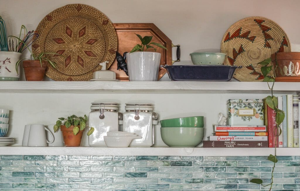 Restyled Kitchen Shelves- Eclectic Boho