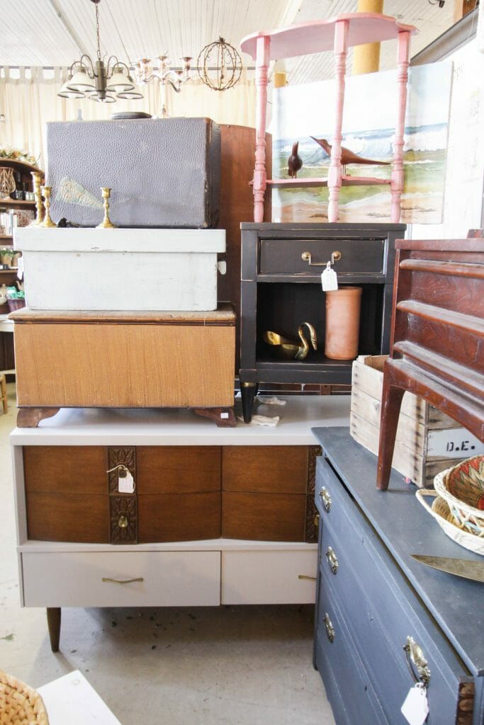Stack of furniture at Sweet Clover January Sale