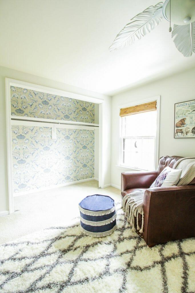 How to wallpaper a closet- dinosaur wallpaper