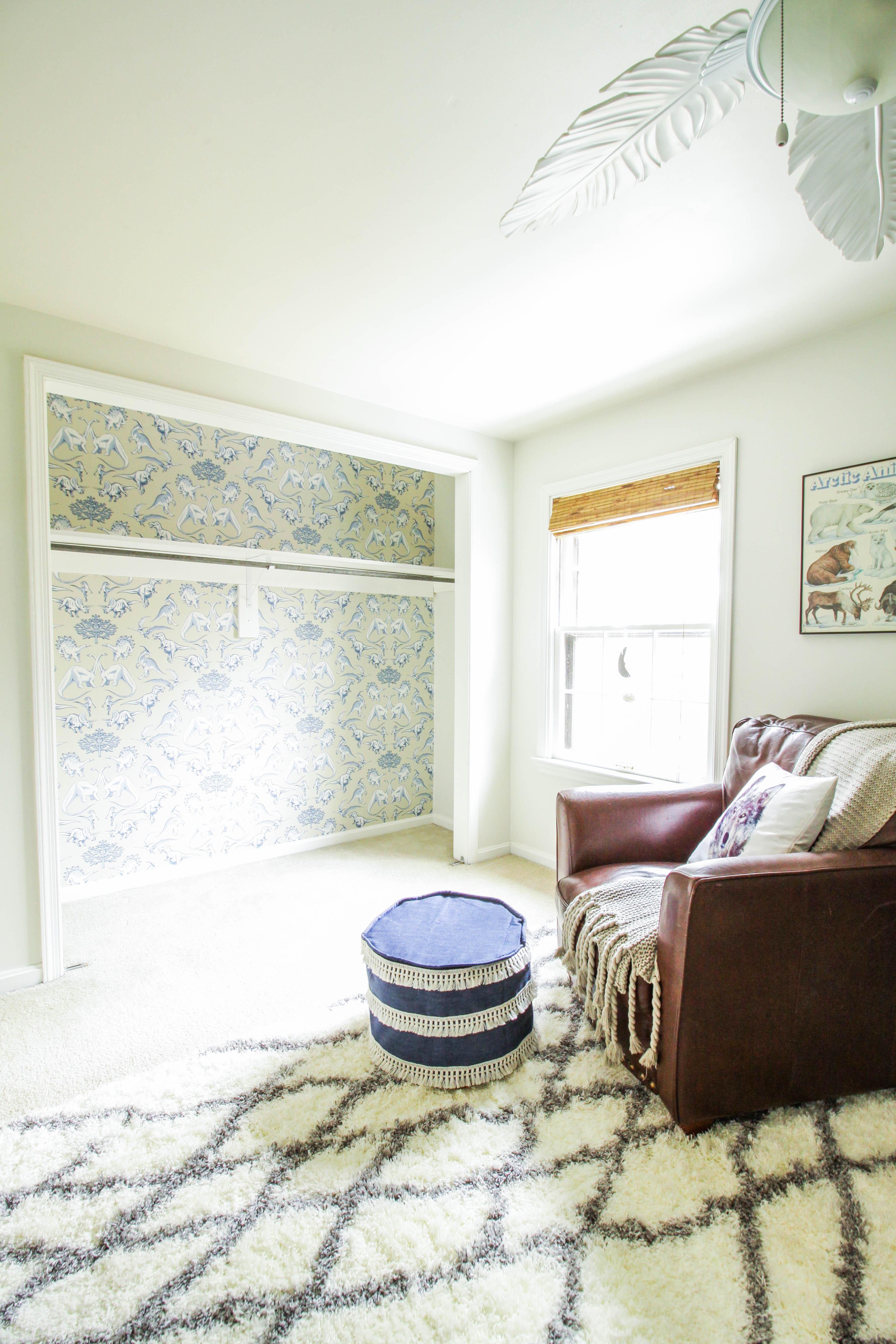 How To Wallpaper A Closet Nursery Closet Update Featuring