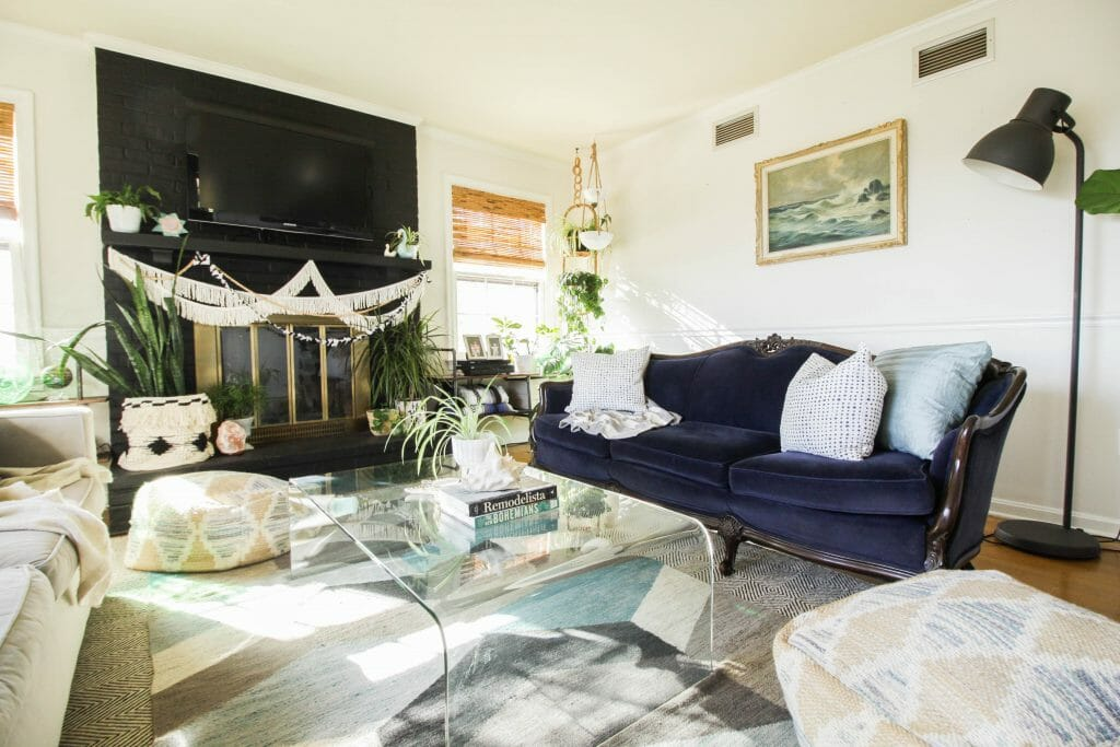 Eclectic Modern Vintage Boho Living Room in Blues
