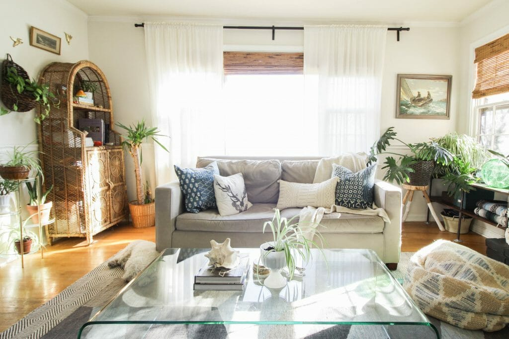 Eclectic Living Room with West Elm Sofa
