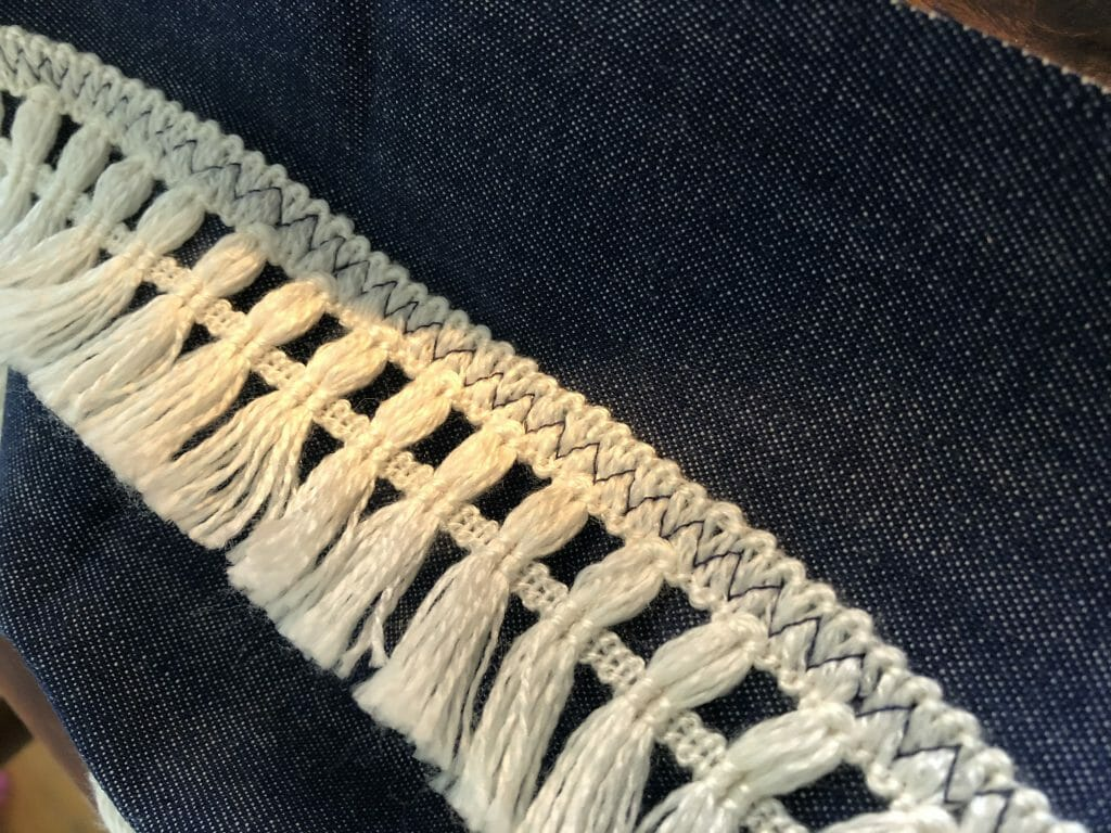 Zig Zag stitching on fringe