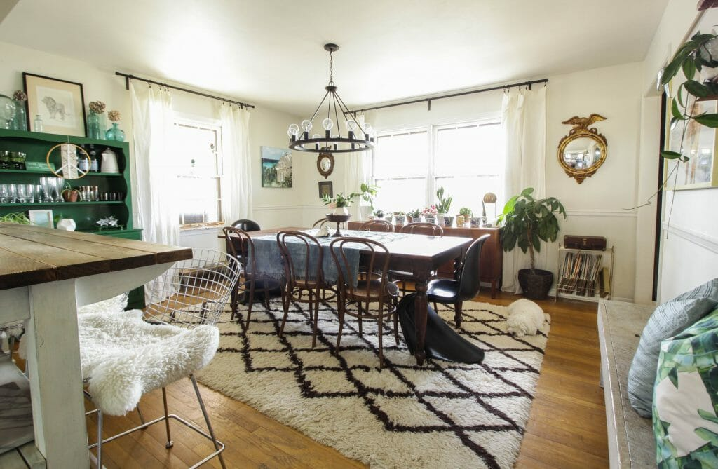 Eclectic and Earthy blue green dining room