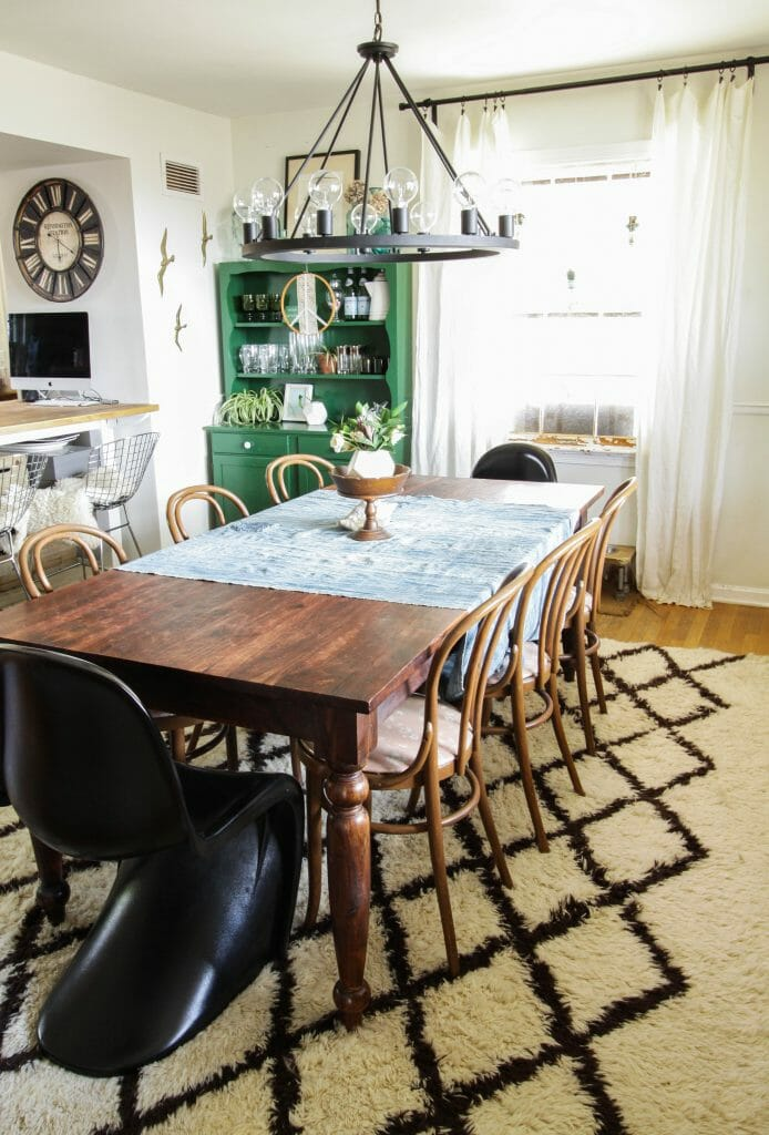Eclectic Dining Room with Blues and Greens
