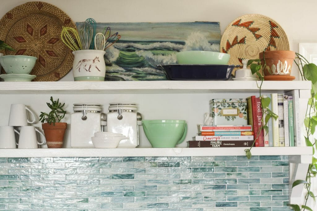 Styled Kitchen Shelves for Spring in blues, and greens