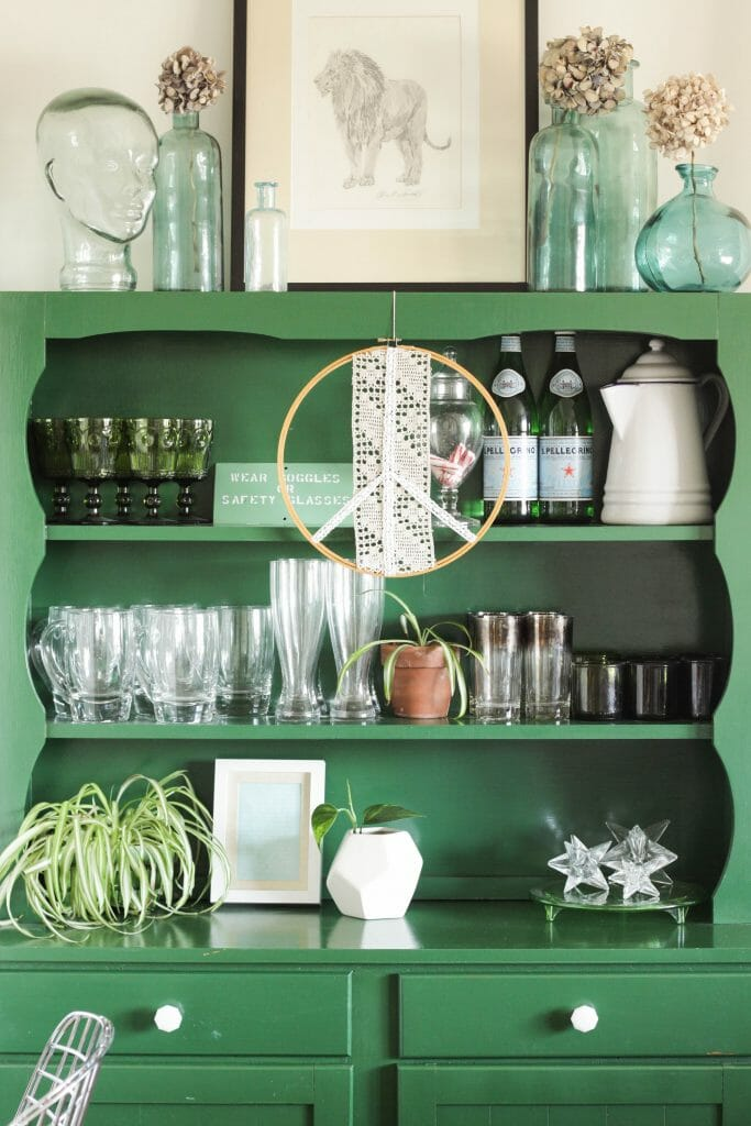 Green Hutch styled for Spring