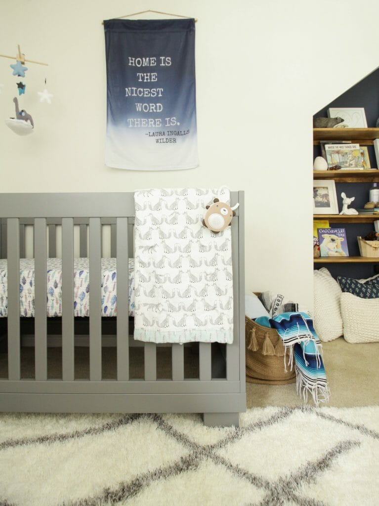 Babyletto Modern modo gray crib with touches of blue