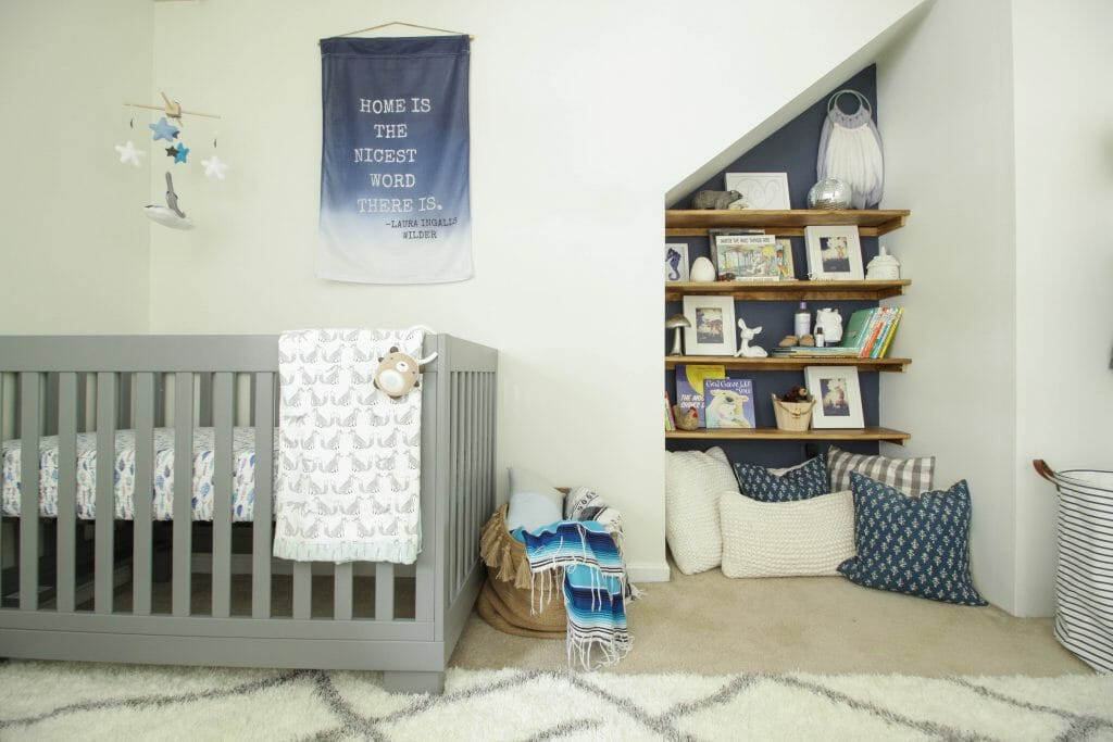 Modern Boho baby Boy Nursery book nook