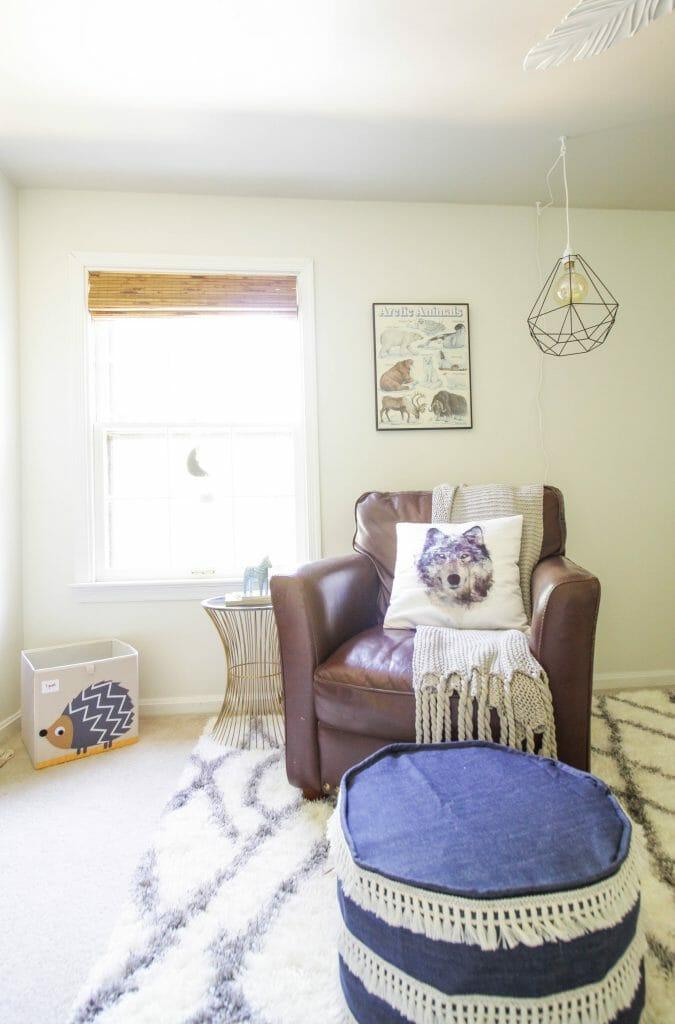 Leather chair nursery nook