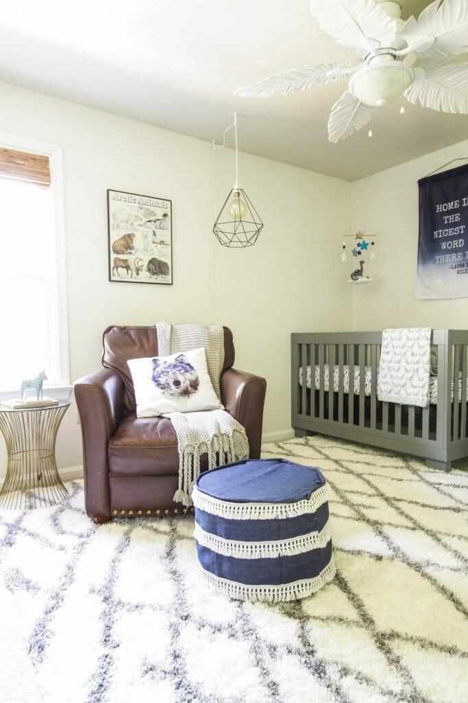 Earthy Modern Boys Nursery in Blue, Gray, White