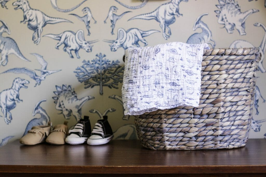 Basket for swaddle blankets and tiny shoes