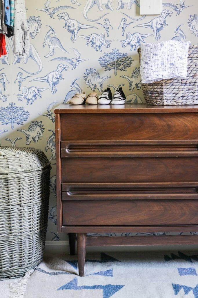 Midcentury Dresser in Nursery Closet