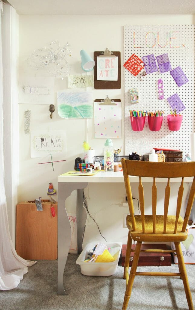 Playroom craft desk