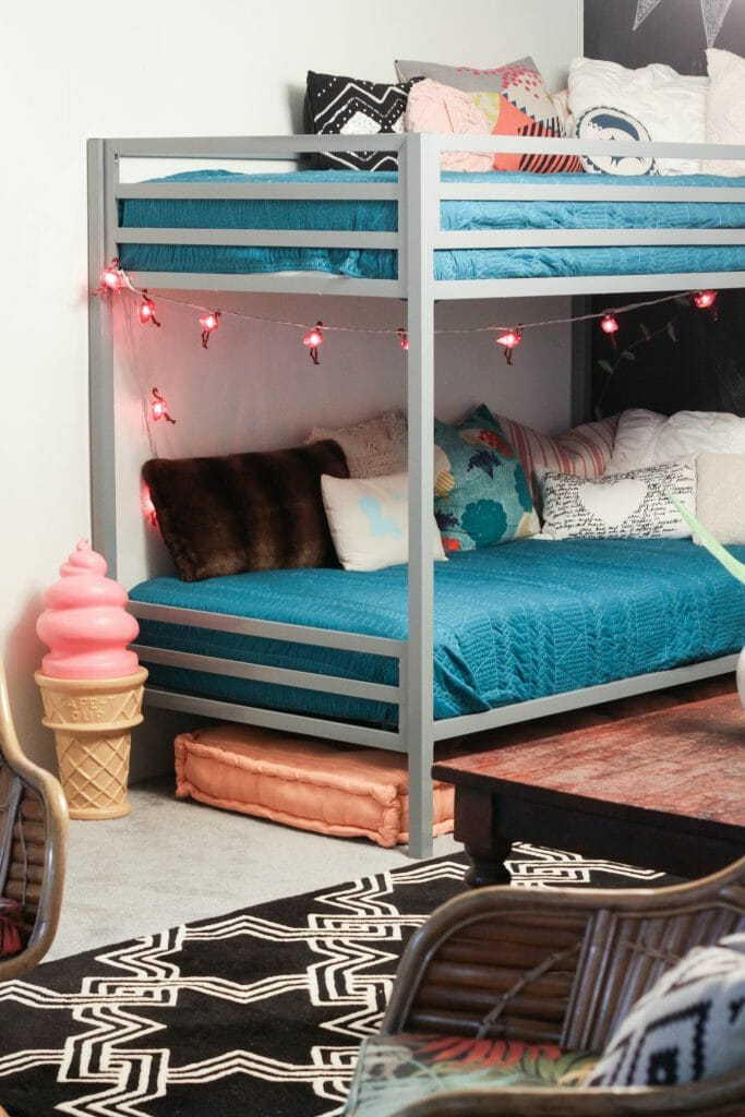 Playroom bunk beds with vintage ice cream cone