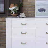 Furniture Makeover: White & Gold Midcentury Dresser