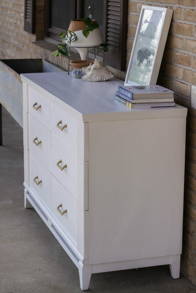 White and Gold Midcentury Dresser
