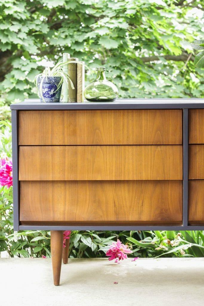 Coastal Blue and Wood Midcentury Dresser DIY Makeover