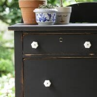 Furniture Makeover: Black Vintage Dresser with Milk Glass Knobs