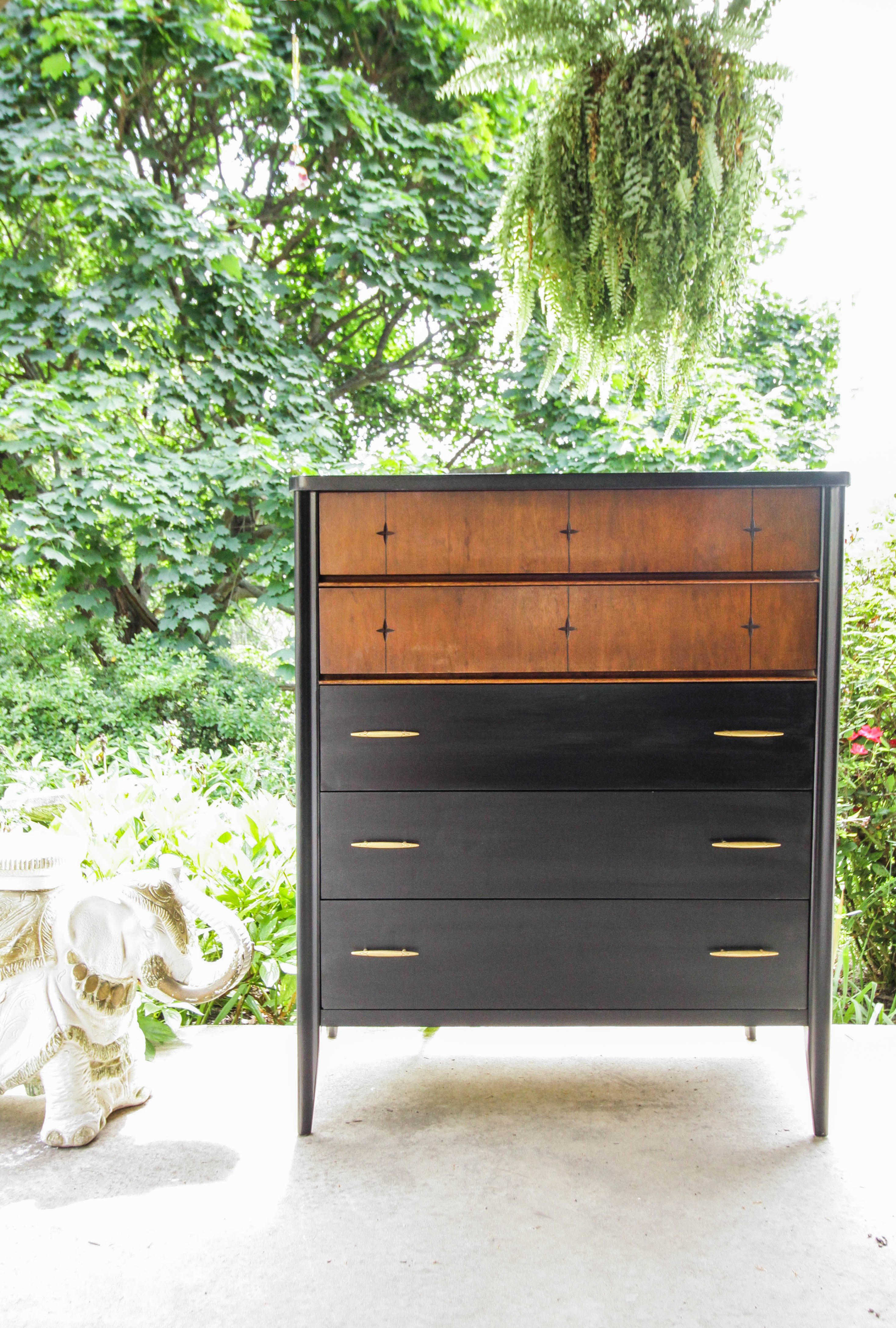 Image of: Furniture Makeover Black Wood Gold Midcentury Chest Cassie Bustamante