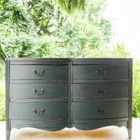 Furniture Makeover: Distressed Teal Vintage Double Dresser