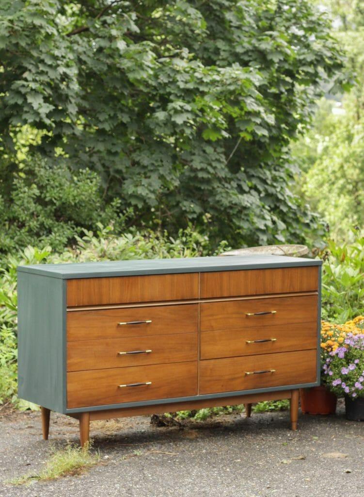 Teal & wood double dresser makeover