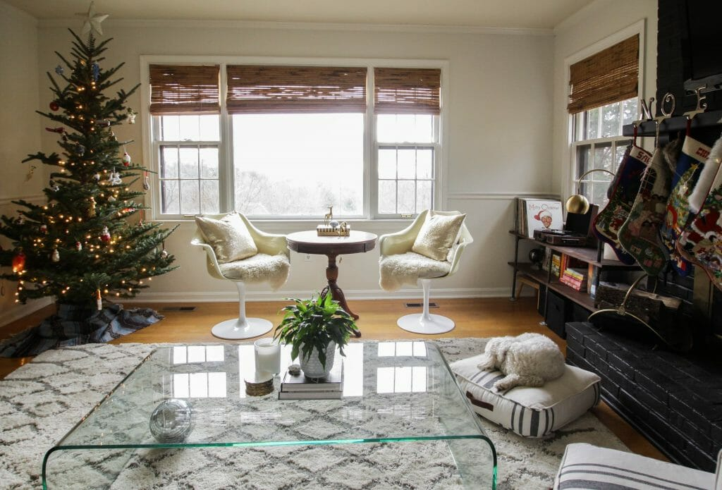 Modern boho christmas living room