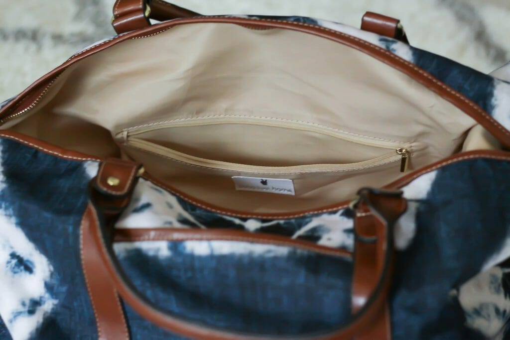 Boho Luxe interior zip pocket travel bag