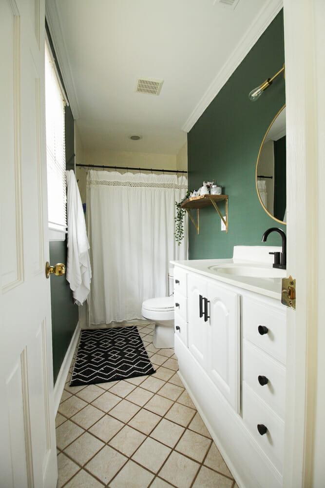 Dark Green Moody Budget Modern Bathroom Makeover