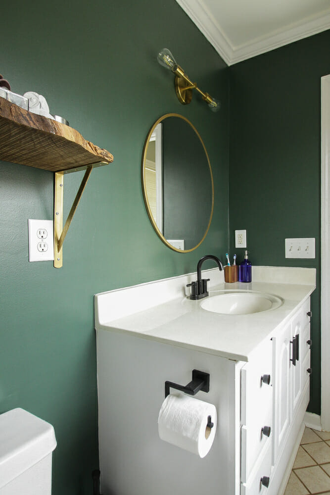 Dark Green Modern Budget Bath Redo