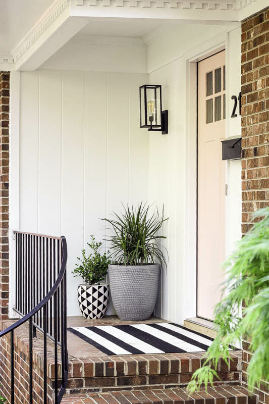 Budget Porch Makeover with Black and White