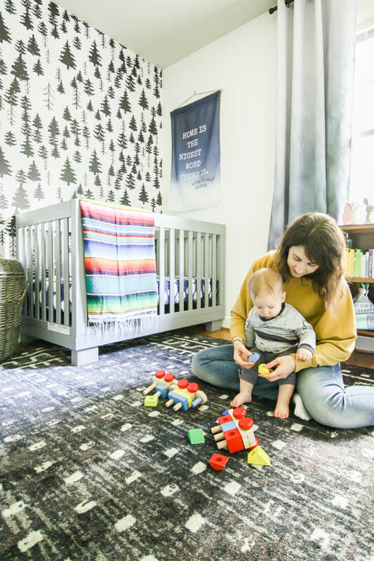 Gender Neutral Nursery in Gray Black White and colors